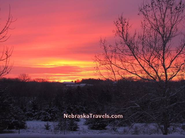 Red and Blue Colorful Nebraska Midwest Country Sunrise sky -- 7-34am