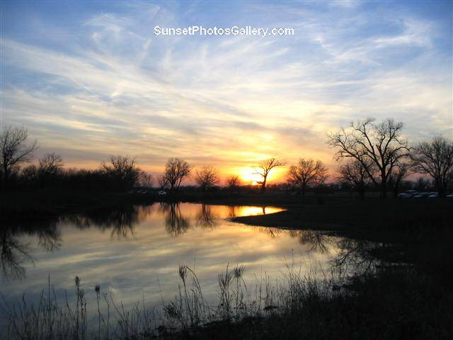 Midwest Sunset over small rural lake - variety of blue & orange colors - Sunset Photos Gallery