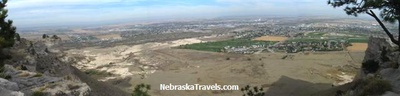 Wide shot of Town of Scottsbluff, NE from top of Scottsbluff Monument