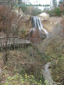 Smith Falls - Tallest Waterfall in Nebraska - with boardwalk to waterfall and stream near Nioabrara River