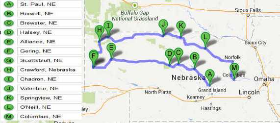Western Nebraska Travel Road Trip through Nebraska Sandhills – Tourist Attractions Map In Nebraska