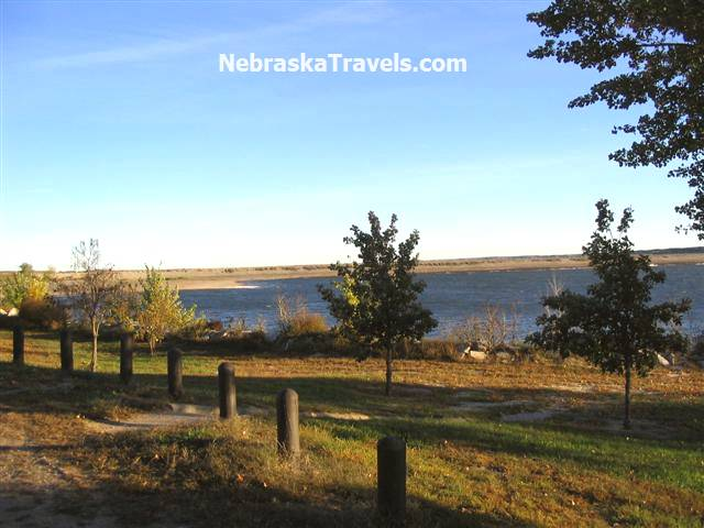 Calamus Reservoir Picnic Area + view of the Dam - near Burwell in Nebraska Sandhills