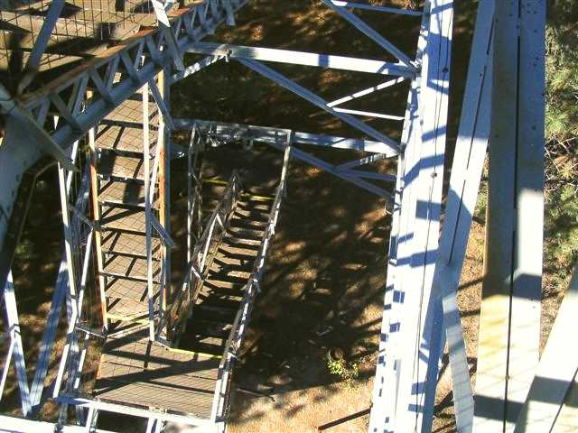 Fire Lookout Tower stairs down from top - Halsey Nebraska National Forest