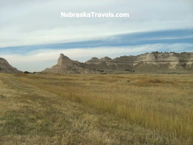Approaching Scotts Bluff National Monument from the east on Hwy 92 west of Gering